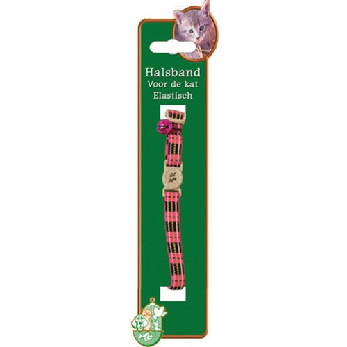Huismerk Kattenhalsband elastisch met ruit roze