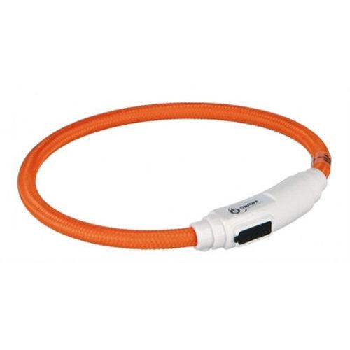 Huismerk Trixie halsband kat flash light lichtgevend usb oplaadbaar oranje