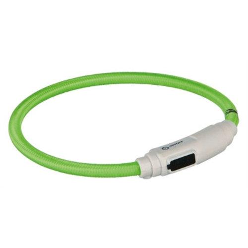 Huismerk Trixie halsband kat flash light lichtgevend usb oplaadbaar groen