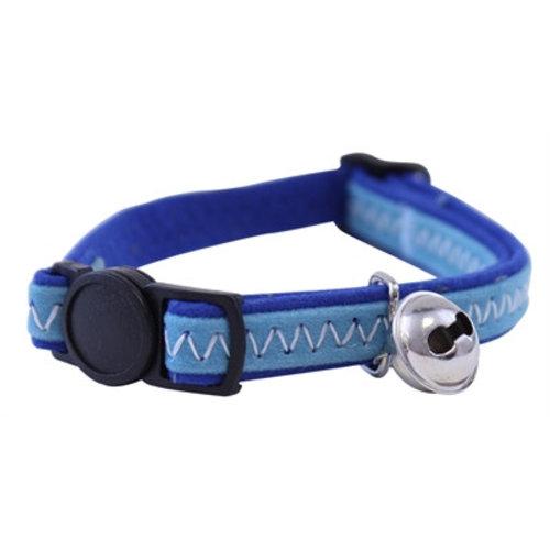 Huismerk Out & about kattenhalsband suede look blauw
