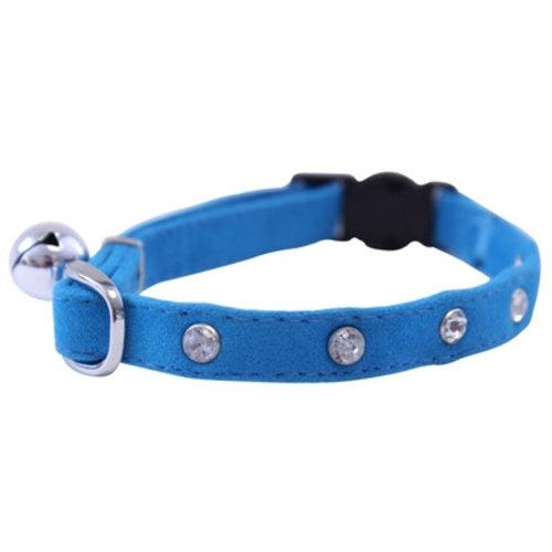 Huismerk Out & about kattenhalsband velvet diamant blauw