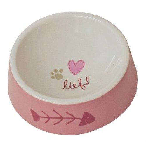Huismerk Lief! voerbak keramiek girls roze