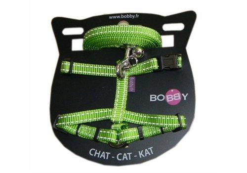 Bobby kattentuig en looplijn nylon reflecterend groen