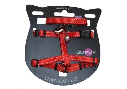 Bobby kattentuig en looplijn nylon reflecterend rood