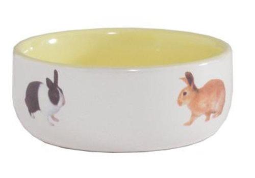 Konijnenvoerbak ceramic geel