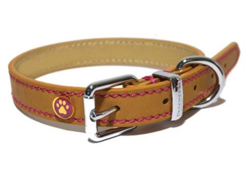 Luxury leather halsband puppy / kleine hond zand met studs