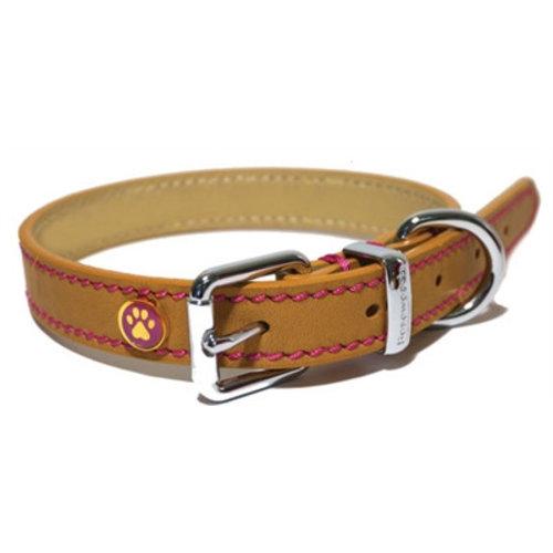 Huismerk Luxury leather halsband puppy / kleine hond zand met studs