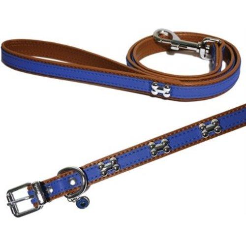 Huismerk Wag 'n' walk halsband puppy  / kleine hond royal blauw met studs