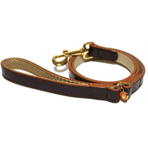 Huismerk Wag 'n' walk looplijn puppy / kleine hond oxblood bruin met stud