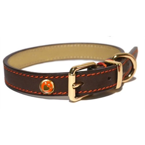 Huismerk Luxury leather halsband hond leer luxe bruin