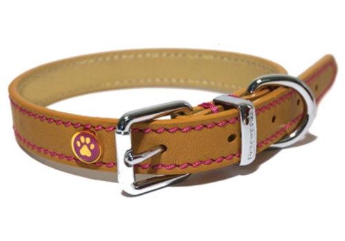 Luxury leather halsband hond leer luxe zand