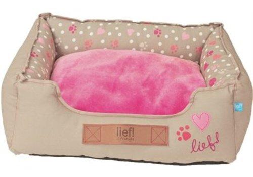 Lief! hondenmand girls beige / roze