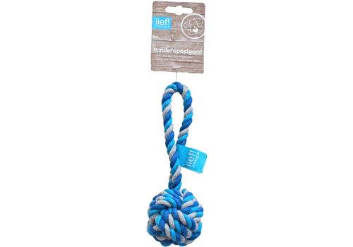 Lief! hondenspeelgoed flossbal boys blauw / wit