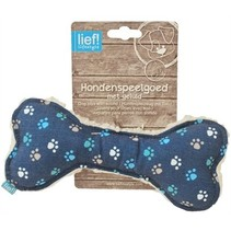 Lief! hondenspeelgoed canvas bot met piep boys blauw
