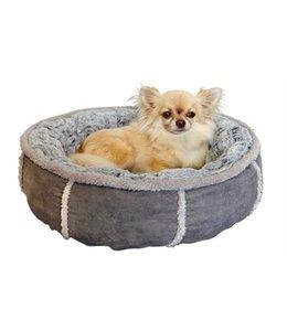 Hondenmand pluche donut grijs