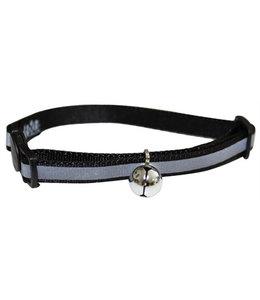 Happy pet halsband kat reflecterend zwart