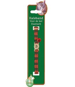 Kattenhalsband elastisch met ruit rood