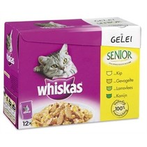 4x whis multipack pouch senior vlees in saus