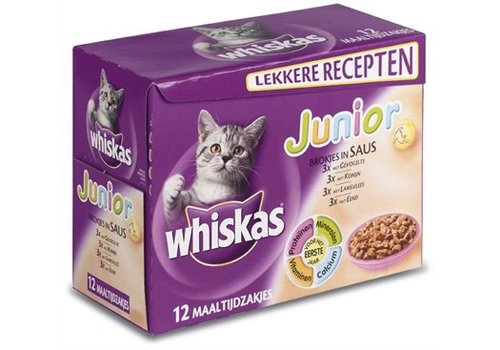 4x whis multipack pouch junior vlees in saus