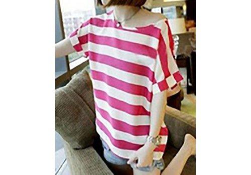 Ronde Kraag T-Shirt met korte mouwen Rode Strepen