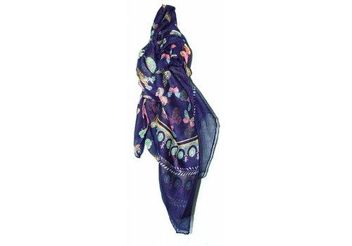 Huismerk Lange Vlinder Sjaal Pareo Blauw