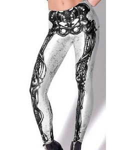 Huismerk 3D Trendy Print Legging Skalet Boddy Zwart/Wit