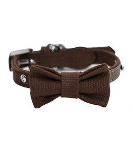 Wag 'n' walk halsband hond met strik truffel / taupe