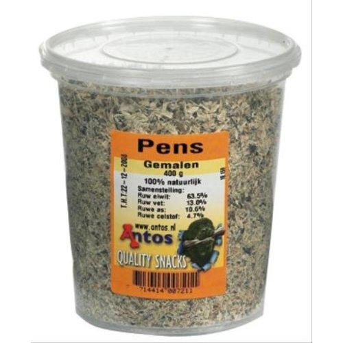 Huismerk Antos gemalen pens in pot