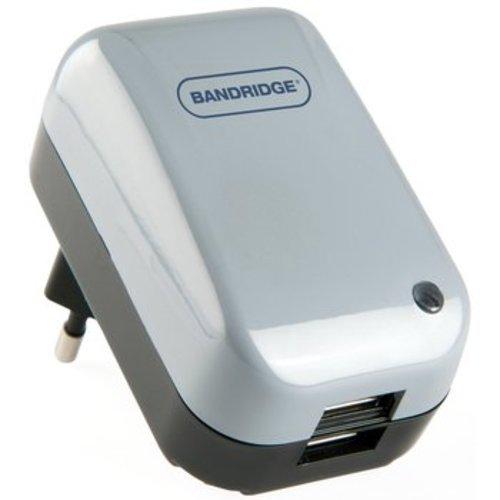 Bandridge Lader 2 - Uitgangen 2.0 A USB Zilver/Zwart