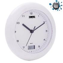 Badkamer Klok/Thermometer 17 cm Analoog Wit