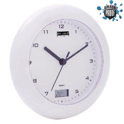 Balance Badkamer Klok/Thermometer 17 cm Analoog Wit