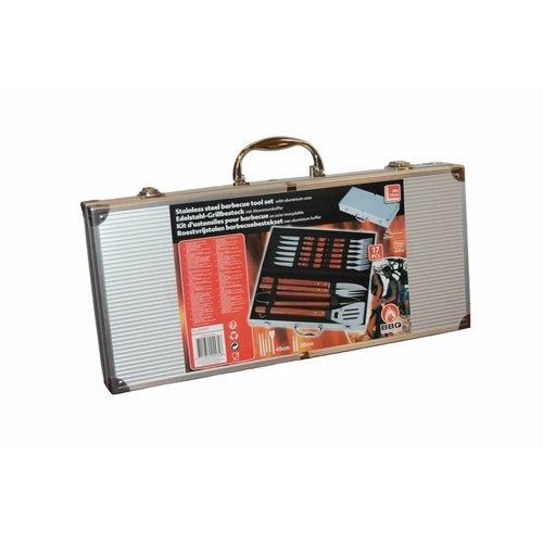 Huismerk 16-delig Barbecuebestek RVS in koffer