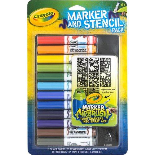 Crayola Mini viltstiften en sjablonenset blauw