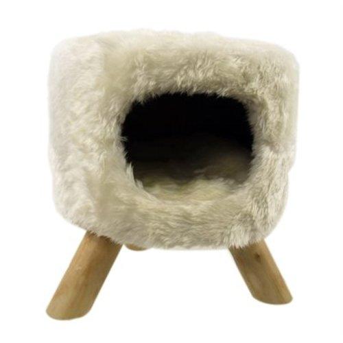 Huismerk Kattenmand poef rond pluche wit