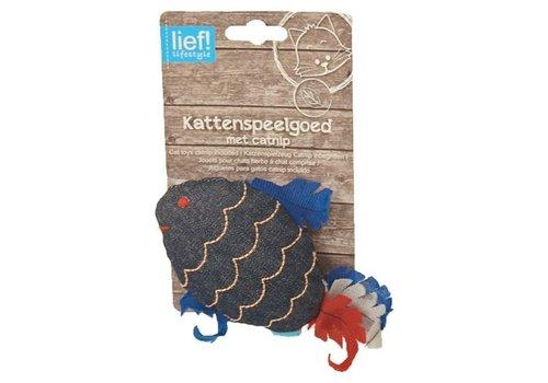 Lief! vis uni met catnip donker blauw