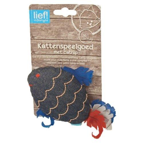 Huismerk Lief! vis uni met catnip donker blauw