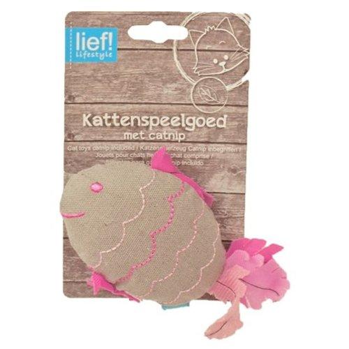 Huismerk Lief! vis girls met catnip beige/roze