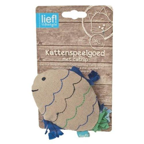 Huismerk Lief! vis boys met catnip beige/blauw