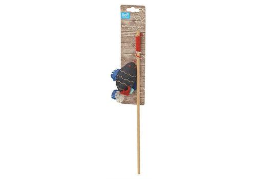 Lief! kattenhengel vis uni met catnip donker blauw