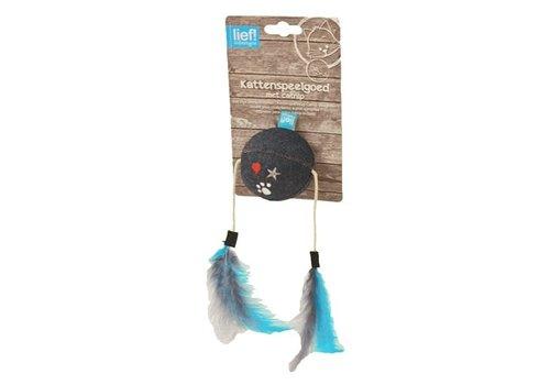 Lief! bal met veren uni met catnip donker blauw
