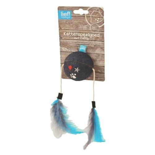 Huismerk Lief! bal met veren uni met catnip donker blauw