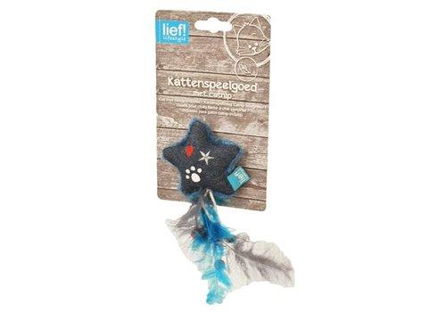 Lief! ster met veren uni met catnip donker blauw
