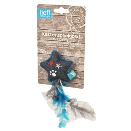 Huismerk Lief! ster met veren uni met catnip donker blauw