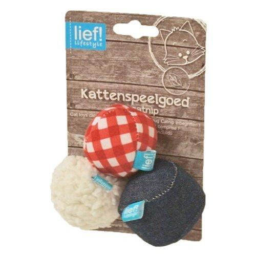 Huismerk Lief! softbal uni met catnip blauw/rood/wit