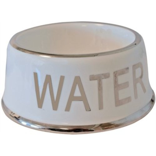 Voerbak hond water wit/zilver