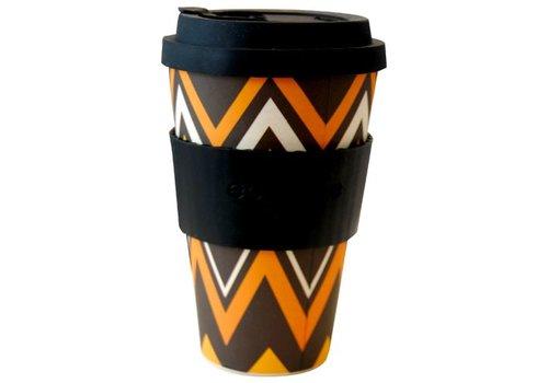 Ecoffee Cup Bamboo zigzag- 400 ml