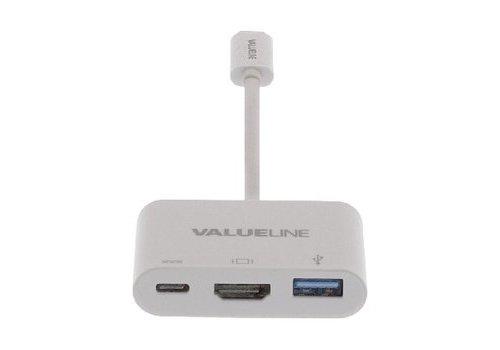 USB 3.1 Adapter USB-C Male - USB A Female / USB-C Female / HDMI Female Wit