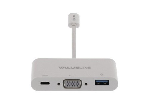USB 3.1 Adapter USB-C Male - USB A Female / USB-C Female / VGA Female 15-Pins Wit