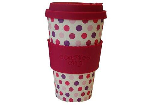 Ecoffee Cup Bamboo - 400 ml Pink Polka - Pink