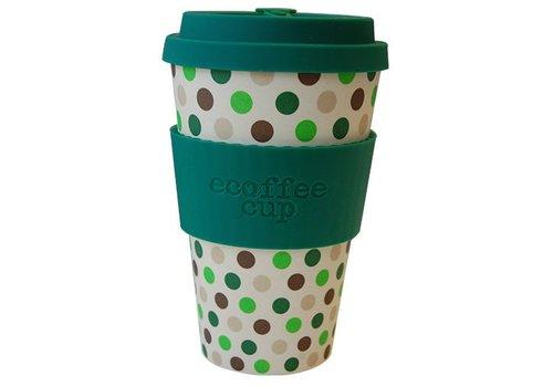 Ecoffee Cup Bamboo - 400 ml Green Polka - Green